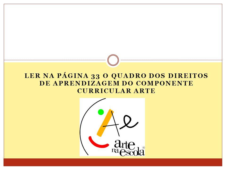 Ler na página 33 o quadro dos Direitos de aprendizagem do componente curricular Arte
