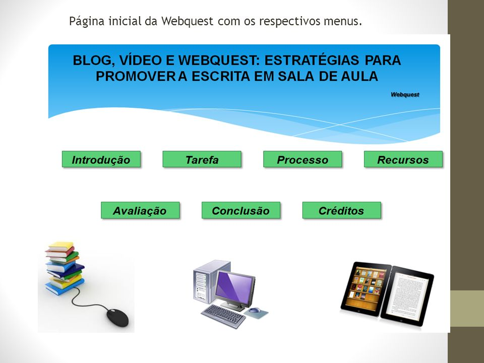 Página inicial da Webquest com os respectivos menus.