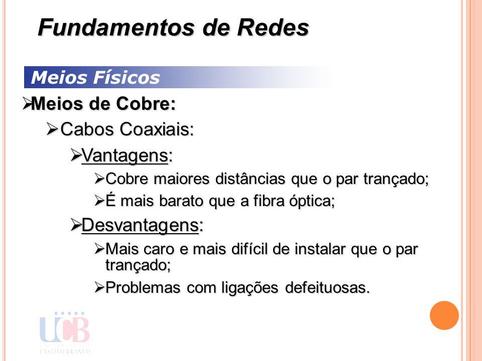 Fundamentos de Redes Meios de Cobre: Cabos Coaxiais: Vantagens: