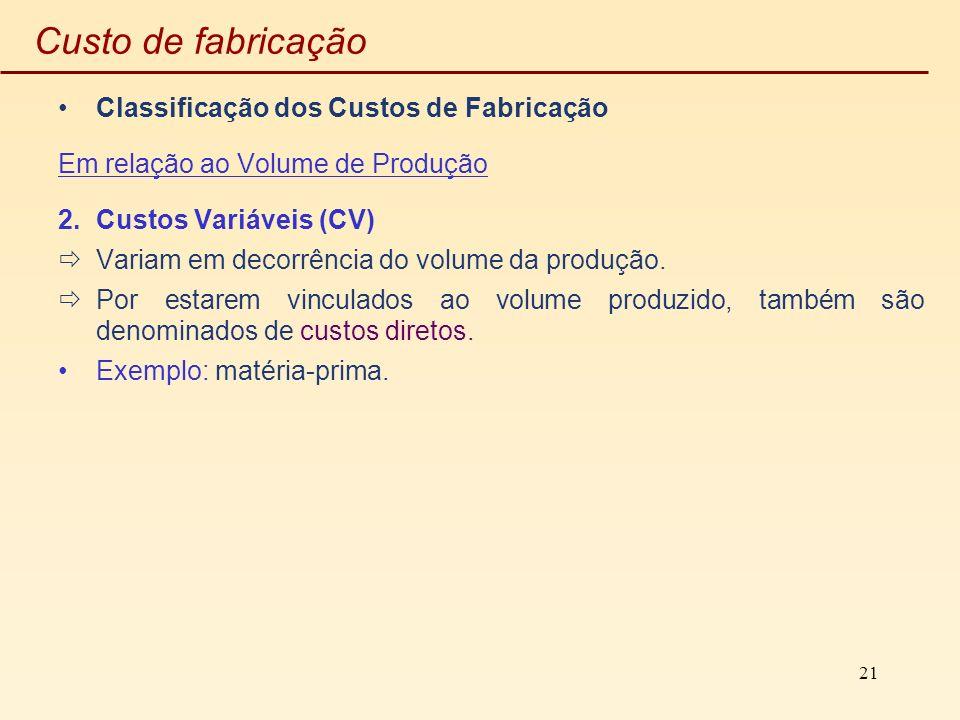 Custo de fabricação Classificação dos Custos de Fabricação