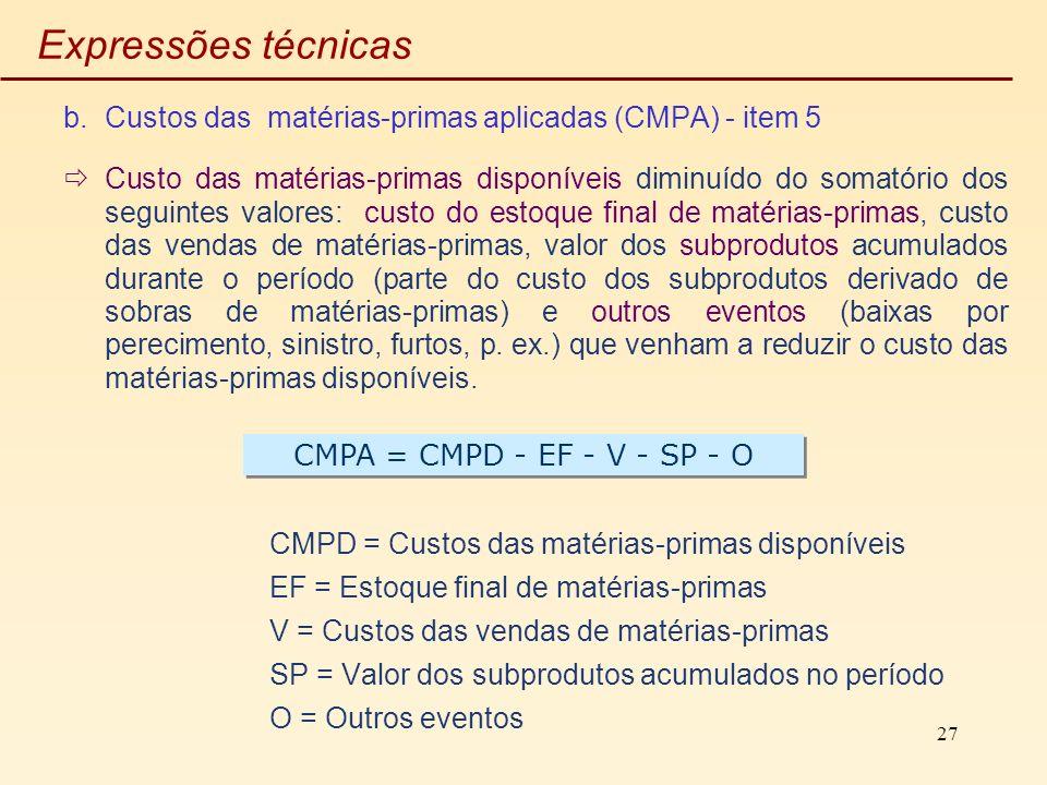 Expressões técnicas Custos das matérias-primas aplicadas (CMPA) - item 5.