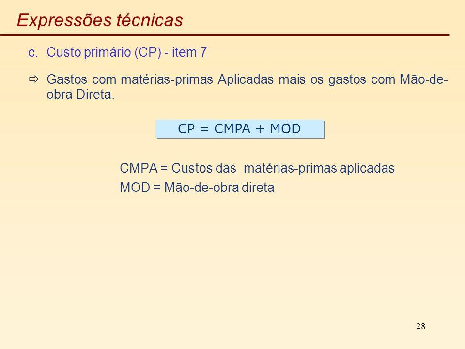 Expressões técnicas Custo primário (CP) - item 7