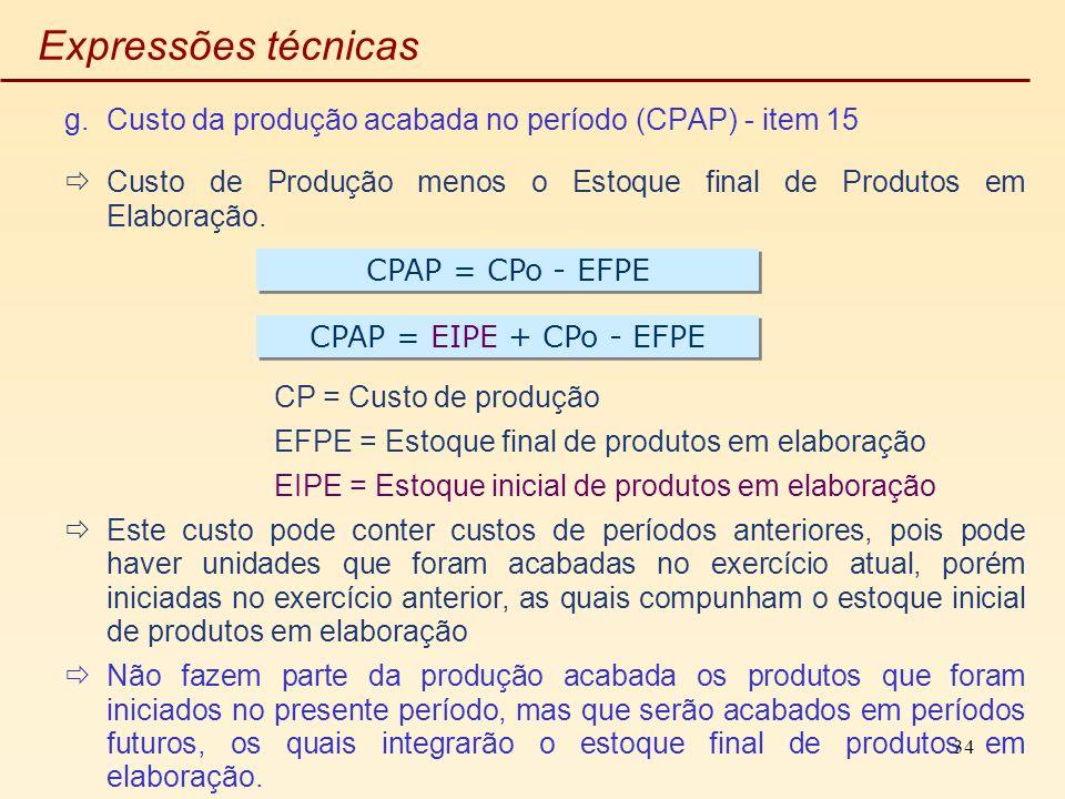 Expressões técnicas Custo da produção acabada no período (CPAP) - item 15. Custo de Produção menos o Estoque final de Produtos em Elaboração.