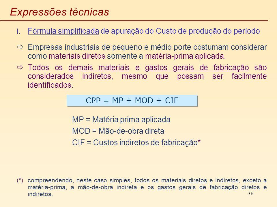Expressões técnicas Fórmula simplificada de apuração do Custo de produção do período.