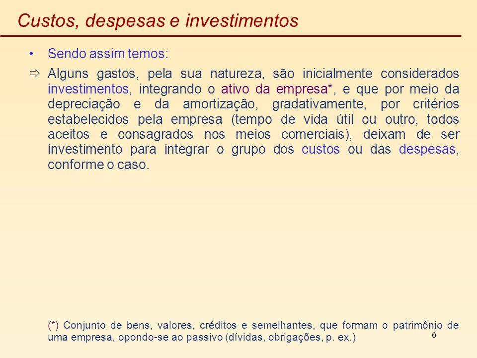 Custos, despesas e investimentos