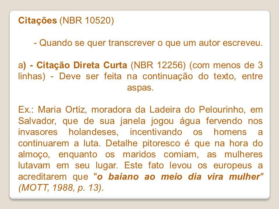 Citações (NBR 10520)