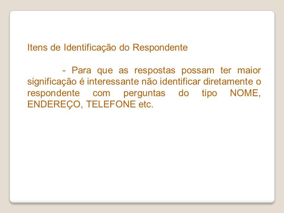 Itens de Identificação do Respondente
