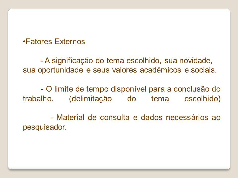 Fatores Externos - A significação do tema escolhido, sua novidade, sua oportunidade e seus valores acadêmicos e sociais.