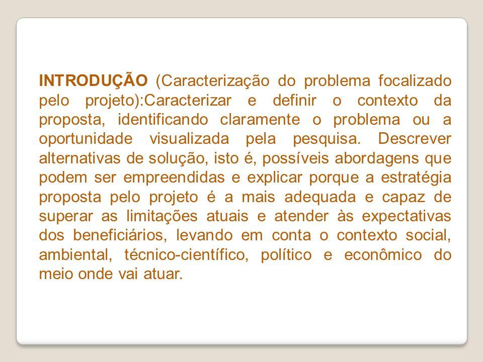 INTRODUÇÃO (Caracterização do problema focalizado pelo projeto):Caracterizar e definir o contexto da proposta, identificando claramente o problema ou a oportunidade visualizada pela pesquisa.