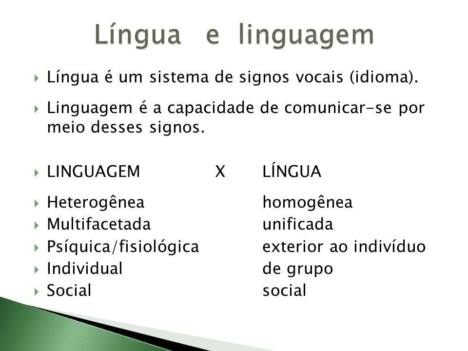 Língua e linguagem Língua é um sistema de signos vocais (idioma).