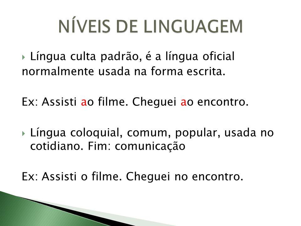 NÍVEIS DE LINGUAGEM Língua culta padrão, é a língua oficial