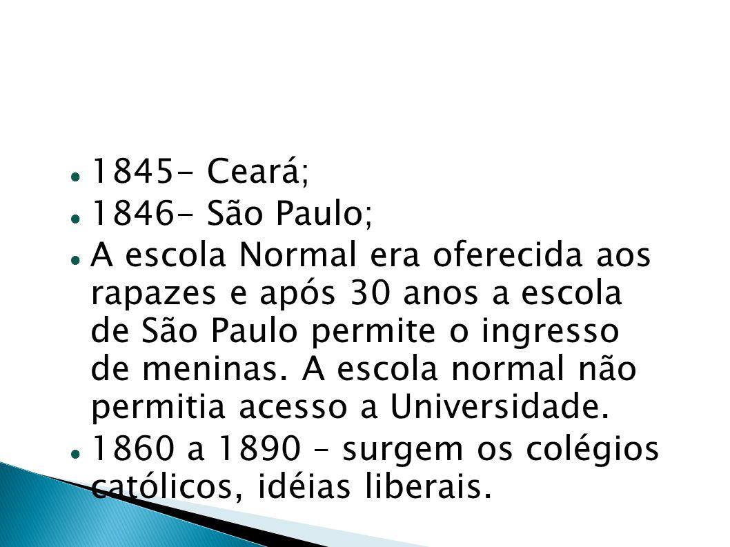 1845- Ceará; 1846- São Paulo;