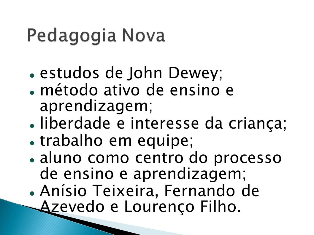 Pedagogia Nova estudos de John Dewey;