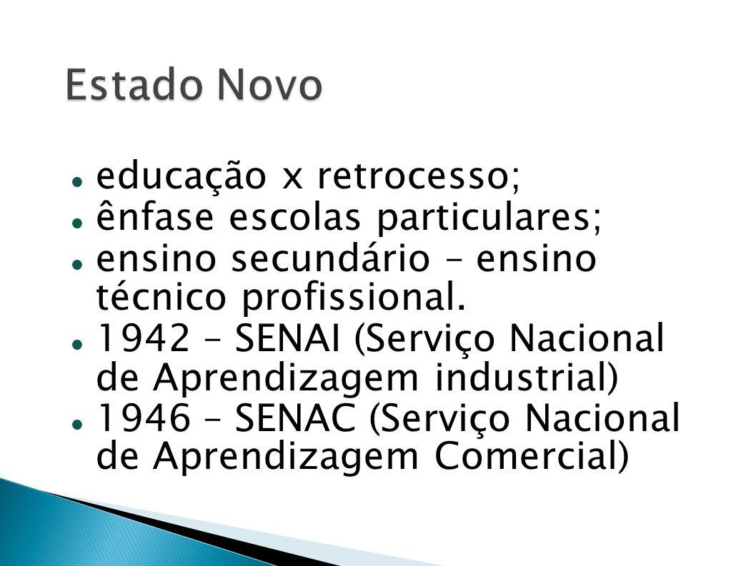 Estado Novo educação x retrocesso; ênfase escolas particulares;