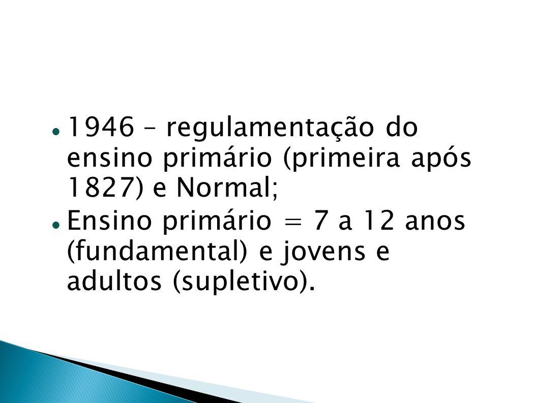 1946 – regulamentação do ensino primário (primeira após 1827) e Normal;
