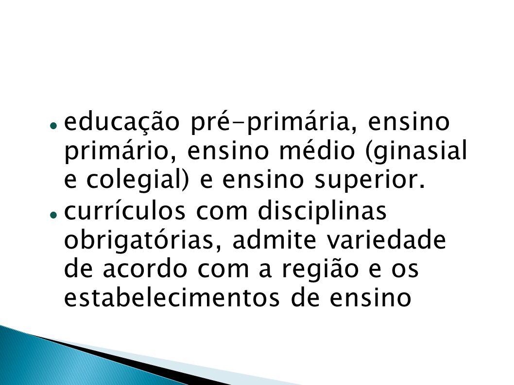 educação pré-primária, ensino primário, ensino médio (ginasial e colegial) e ensino superior.