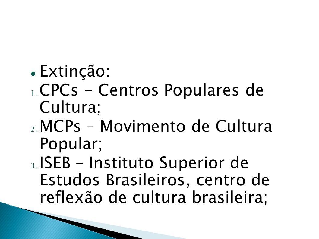 Extinção:CPCs - Centros Populares de Cultura; MCPs – Movimento de Cultura Popular;