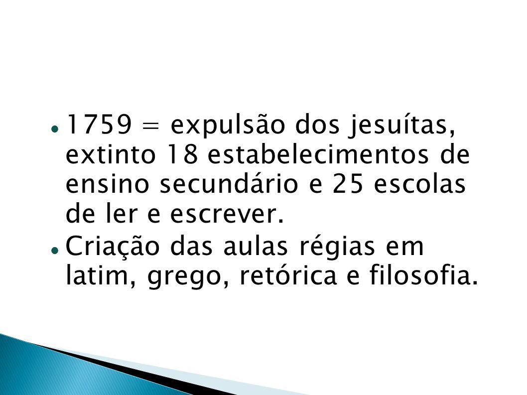 1759 = expulsão dos jesuítas, extinto 18 estabelecimentos de ensino secundário e 25 escolas de ler e escrever.