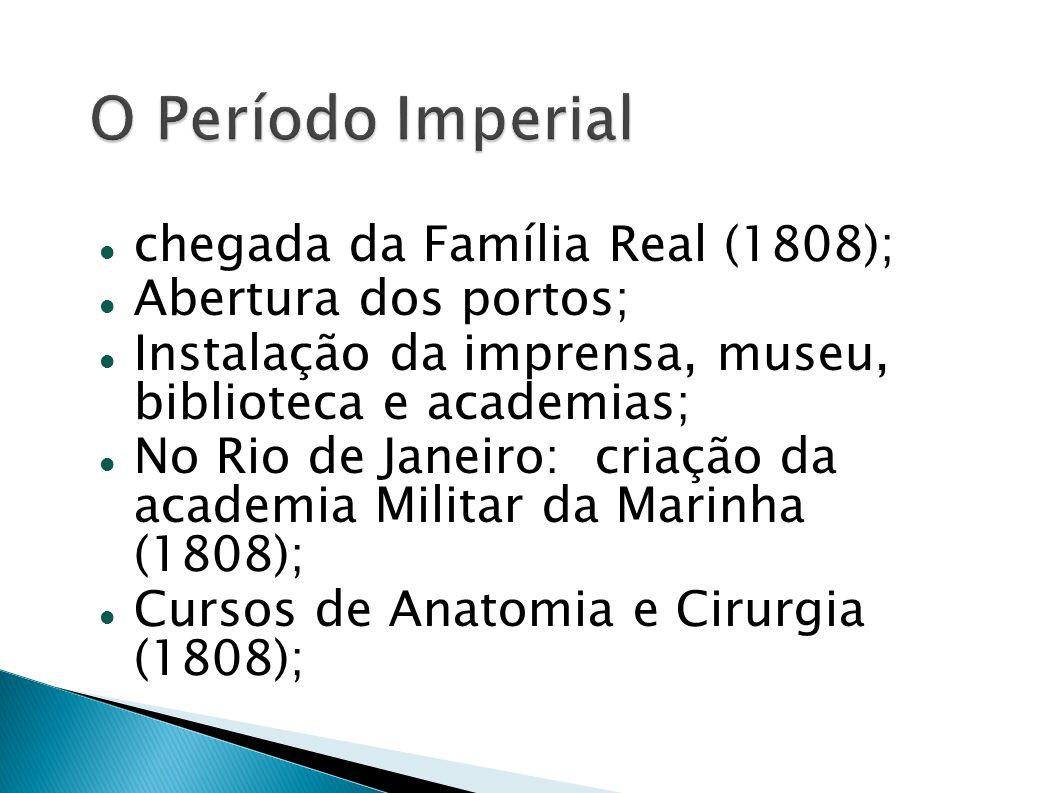 O Período Imperial chegada da Família Real (1808);