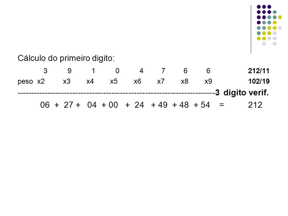 Cálculo do primeiro digito: 3 9 1 0 4 7 6 6 212/11