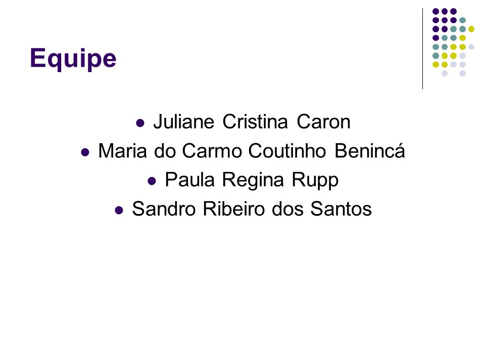 Equipe Juliane Cristina Caron Maria do Carmo Coutinho Benincá