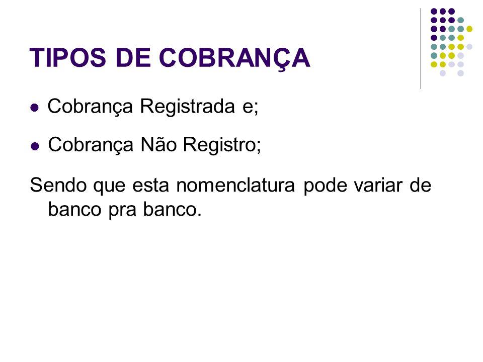 TIPOS DE COBRANÇA Cobrança Registrada e; Cobrança Não Registro;