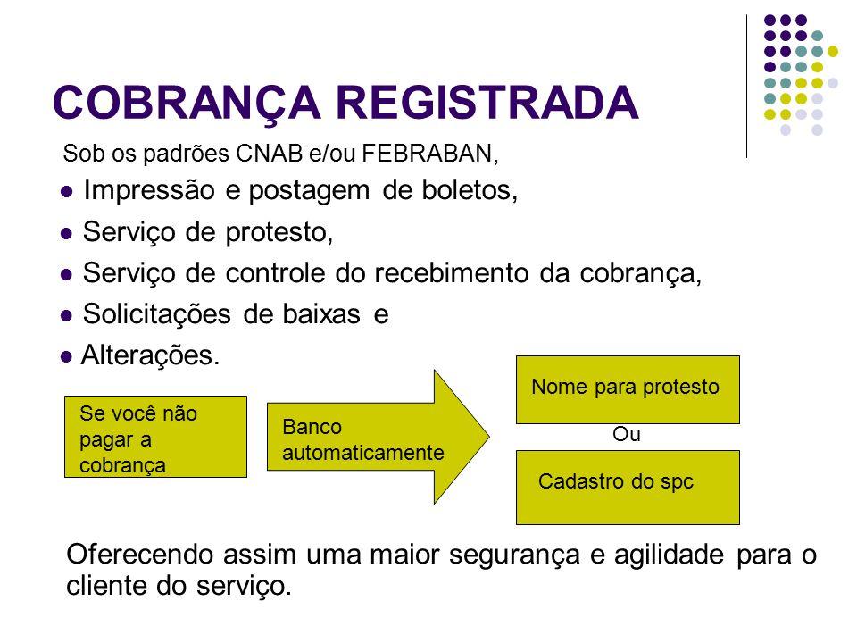 COBRANÇA REGISTRADA Impressão e postagem de boletos,