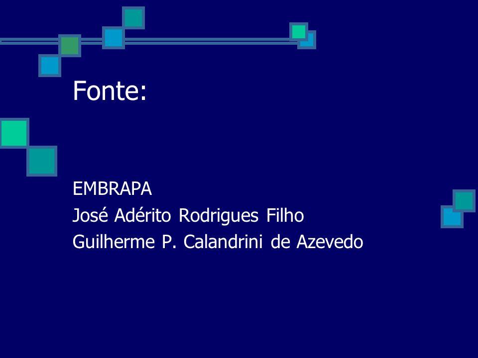 Fonte: EMBRAPA José Adérito Rodrigues Filho Guilherme P. Calandrini de Azevedo