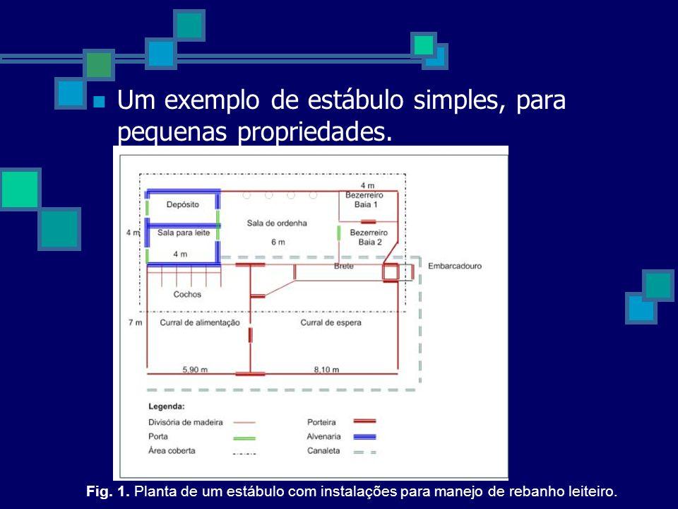 Um exemplo de estábulo simples, para pequenas propriedades.