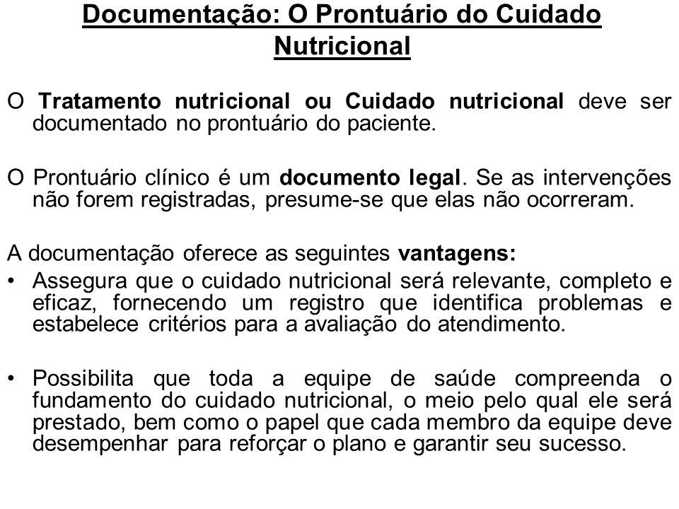 Documentação: O Prontuário do Cuidado Nutricional