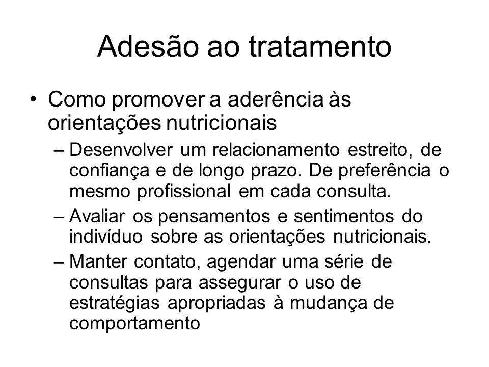 Adesão ao tratamento Como promover a aderência às orientações nutricionais.