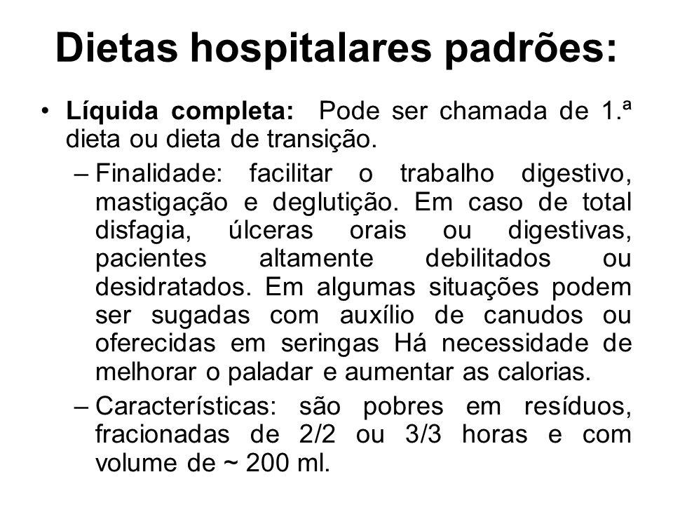Dietas hospitalares padrões: