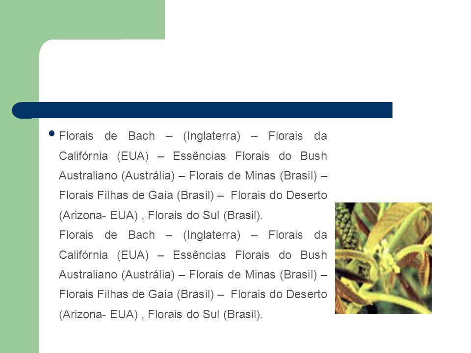 Florais de Bach – (Inglaterra) – Florais da Califórnia (EUA) – Essências Florais do Bush Australiano (Austrália) – Florais de Minas (Brasil) – Florais Filhas de Gaia (Brasil) – Florais do Deserto (Arizona- EUA) , Florais do Sul (Brasil).