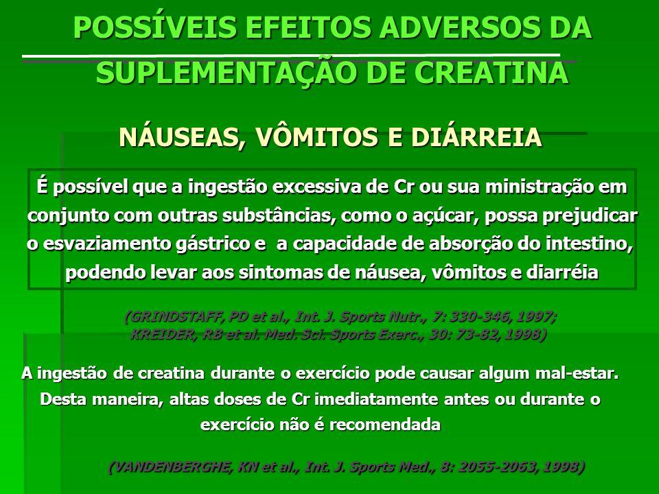 POSSÍVEIS EFEITOS ADVERSOS DA SUPLEMENTAÇÃO DE CREATINA