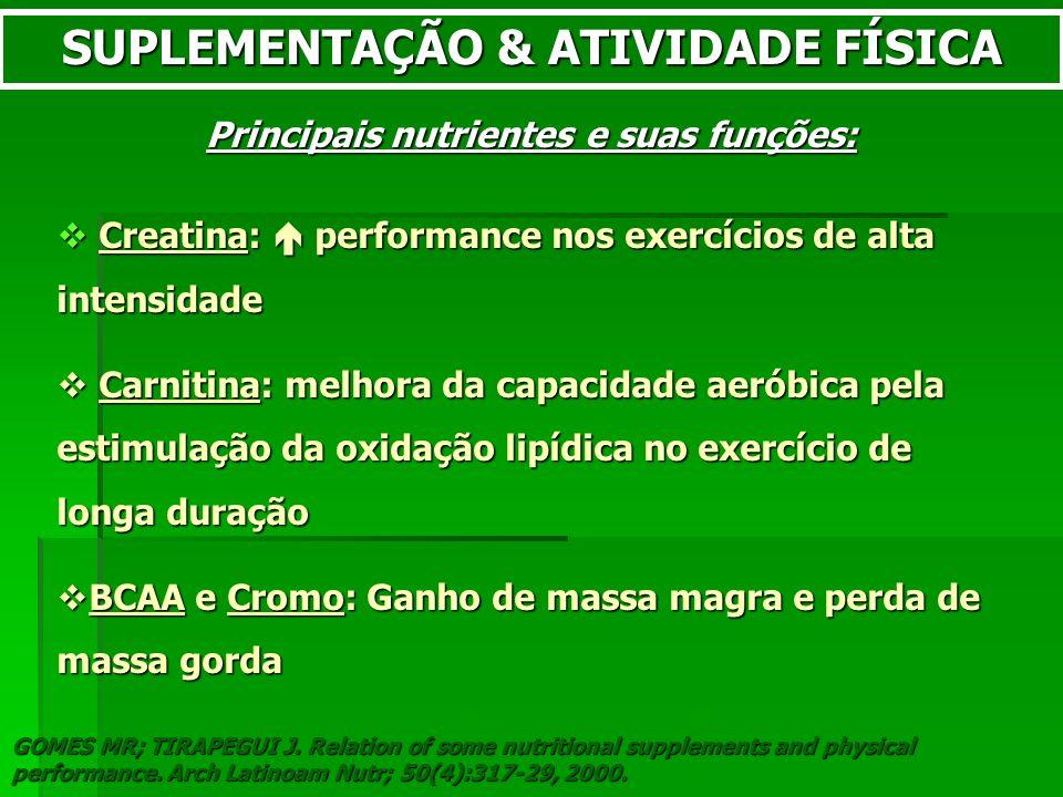SUPLEMENTAÇÃO & ATIVIDADE FÍSICA Principais nutrientes e suas funções: