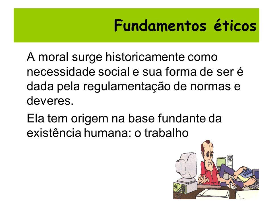 Fundamentos éticos A moral surge historicamente como necessidade social e sua forma de ser é dada pela regulamentação de normas e deveres.
