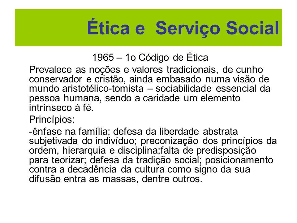 Ética e Serviço Social 1965 – 1o Código de Ética