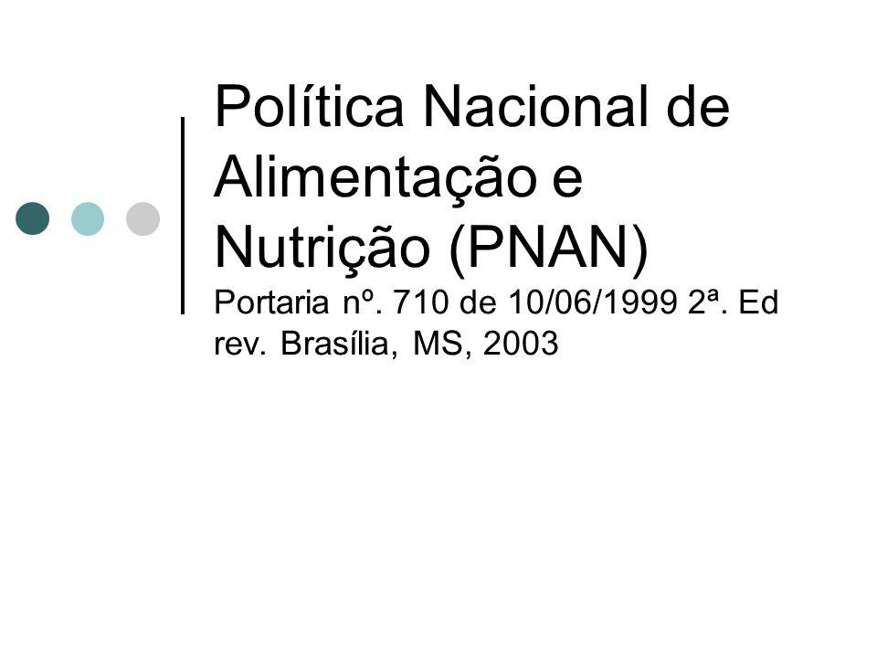 Política Nacional de Alimentação e Nutrição (PNAN) Portaria nº