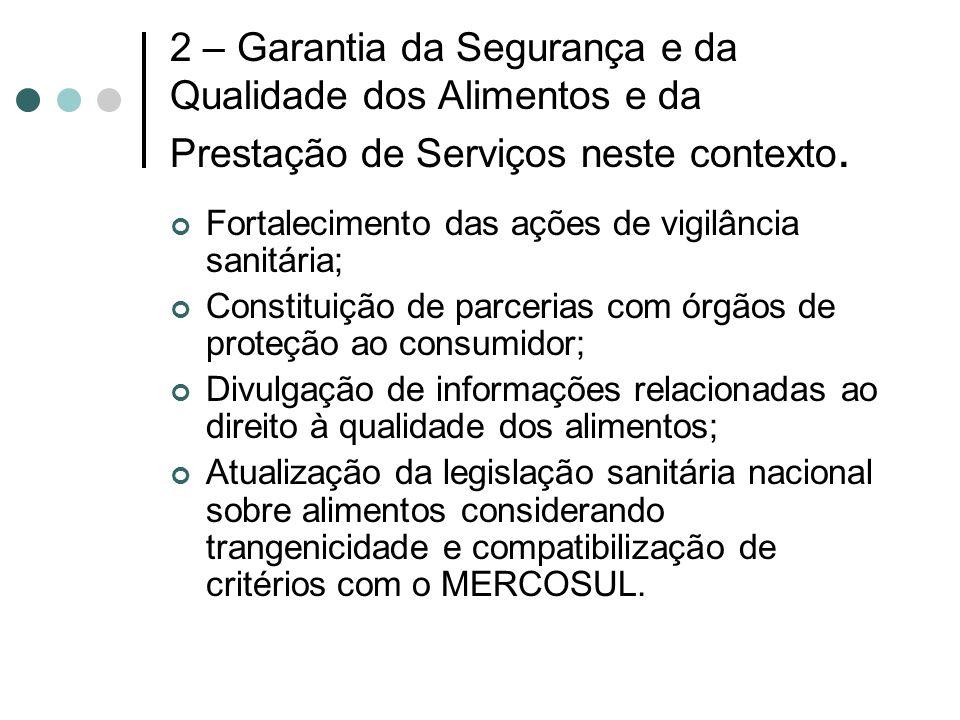 2 – Garantia da Segurança e da Qualidade dos Alimentos e da Prestação de Serviços neste contexto.