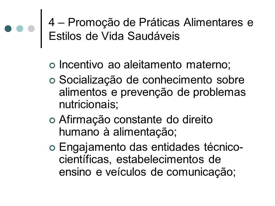 4 – Promoção de Práticas Alimentares e Estilos de Vida Saudáveis