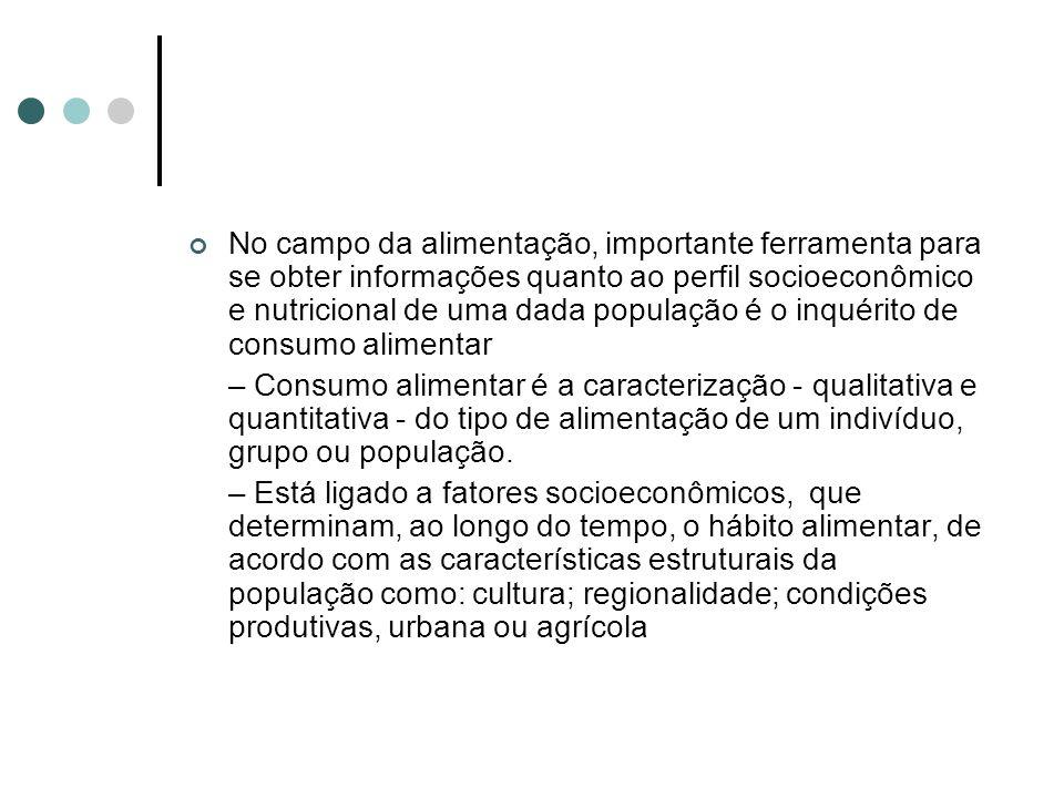 No campo da alimentação, importante ferramenta para se obter informações quanto ao perfil socioeconômico e nutricional de uma dada população é o inquérito de consumo alimentar