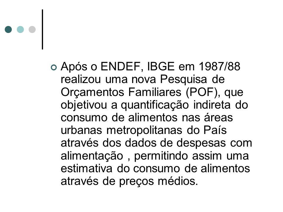 Após o ENDEF, IBGE em 1987/88 realizou uma nova Pesquisa de Orçamentos Familiares (POF), que objetivou a quantificação indireta do consumo de alimentos nas áreas urbanas metropolitanas do País através dos dados de despesas com alimentação , permitindo assim uma estimativa do consumo de alimentos através de preços médios.