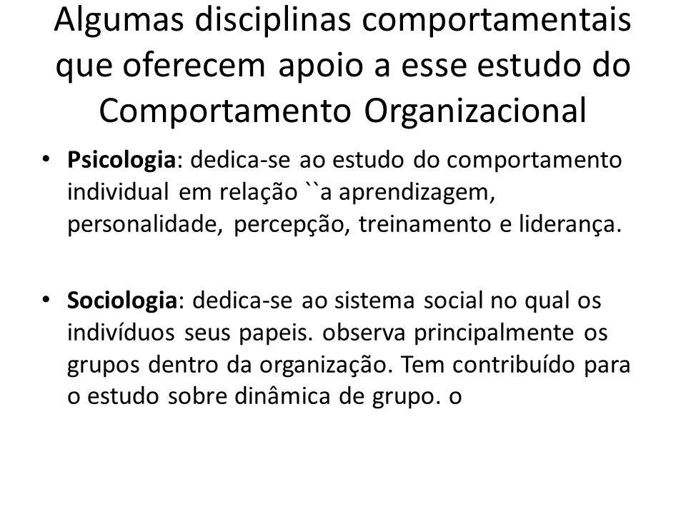 Algumas disciplinas comportamentais que oferecem apoio a esse estudo do Comportamento Organizacional