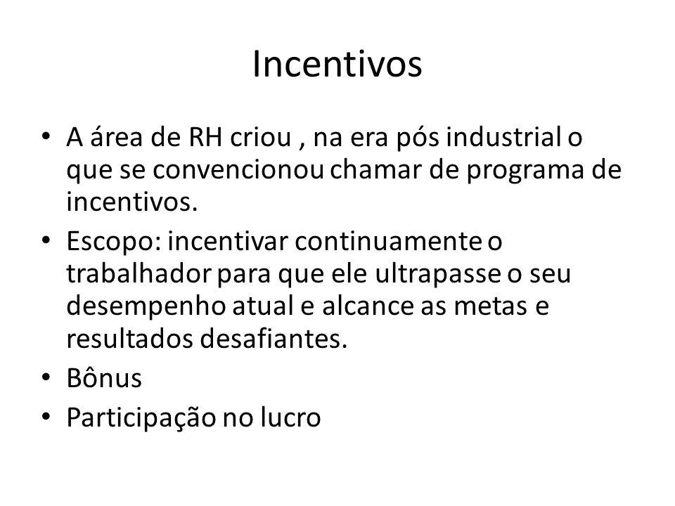 Incentivos A área de RH criou , na era pós industrial o que se convencionou chamar de programa de incentivos.