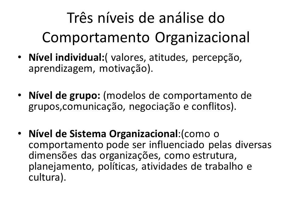Três níveis de análise do Comportamento Organizacional