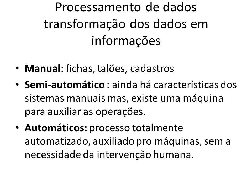 Processamento de dados transformação dos dados em informações
