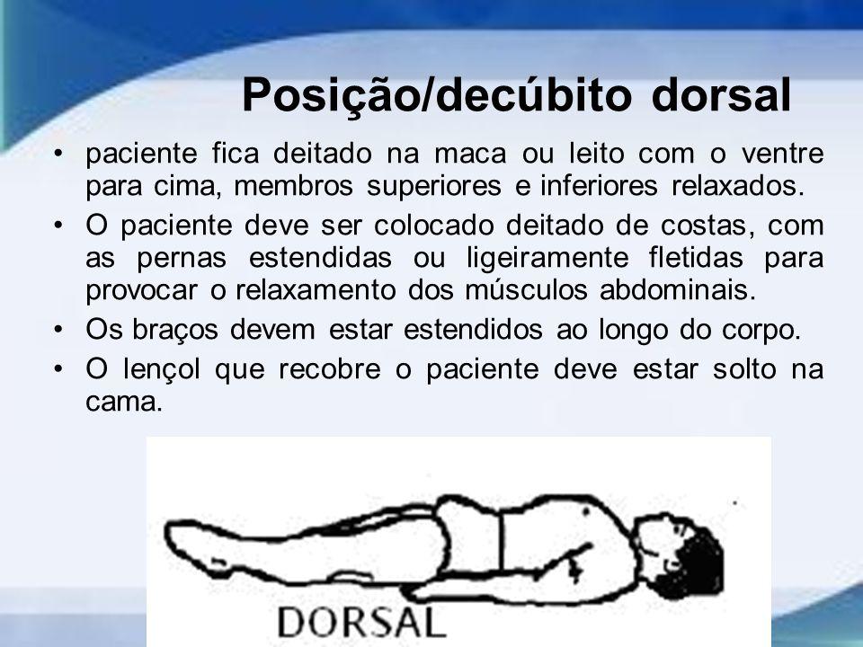 Posição/decúbito dorsal