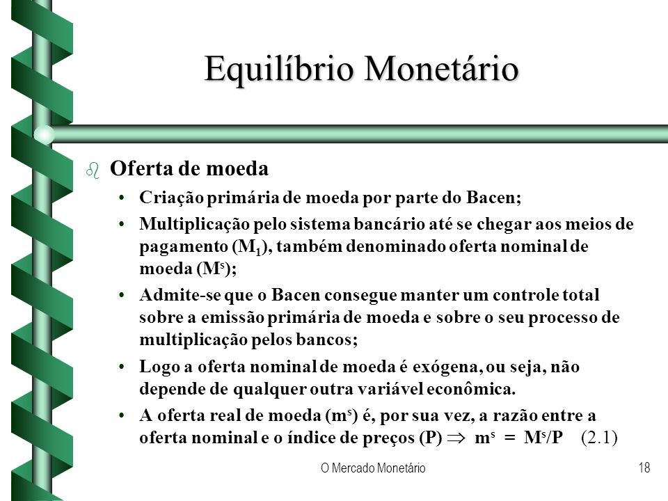 Equilíbrio Monetário Oferta de moeda