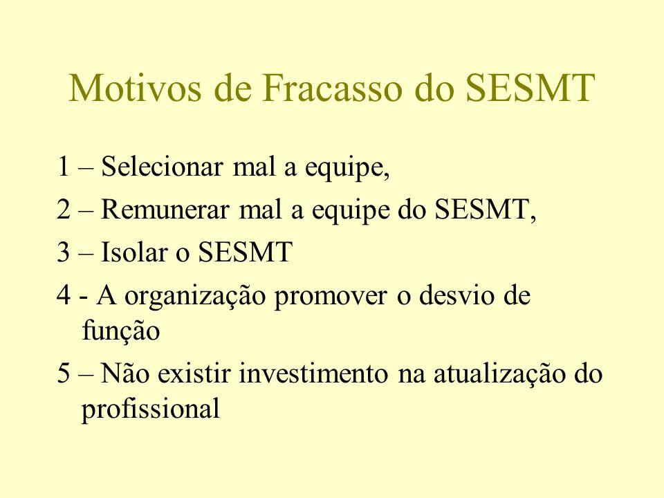 Motivos de Fracasso do SESMT