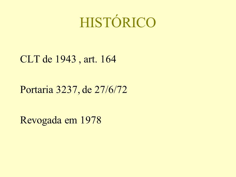 HISTÓRICO CLT de 1943 , art. 164 Portaria 3237, de 27/6/72
